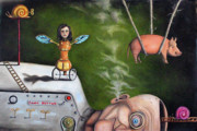 Factory Paintings - Weird Science-The Robot Factory by Leah Saulnier The Painting Maniac