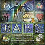 Baby Boy Posters - Welcome Baby Boy Poster by Evie Cook