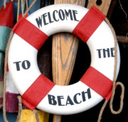  Boat Ornaments Posters - Welcome Beach Float Poster by Joyce StJames