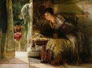 Romantic   Of Couple Paintings - Welcome Footsteps by Sir Lawrence Alma-Tadema