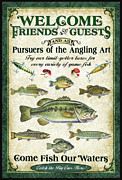Walleye Posters - Welcome Friends Sign Poster by JQ Licensing