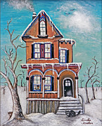 Winter Scene Paintings - Welcome Home by Linda Krider Aliotti