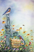 Bluebird Paintings - Welcome home by Patricia Pushaw