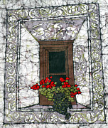 Fine Art Batik Framed Prints - Welcome Mats at Windows Framed Print by Kristine Allphin