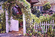 Stone Cottage Paintings - Welcome Rose Covered Gate by David Lloyd Glover