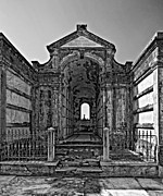 Metairie Cemetery Prints - Welcome to Eternity monochrome Print by Steve Harrington