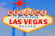 Sign Digital Art Framed Prints - Welcome To Fabulous Las Vegas Nevada Framed Print by Wingsdomain Art and Photography
