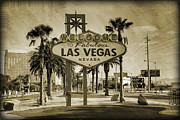 Las Vegas Sign Prints - Welcome To Las Vegas Series Sepia Grunge Print by Ricky Barnard