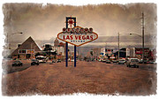 Watercolor Resort Posters - Welcome To Las Vegas Sign 1997 - IMPRESSIONS Poster by Ricky Barnard
