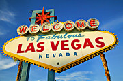Clouds Glass Posters - Welcome to Las Vegas sign Poster by Garry Gay
