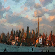 Nyc Skyline Paintings - Welcome to New York by Stefan Kuhn