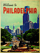 Philadelphia Skyline Framed Prints - Welcome To Philadelphia Framed Print by Vintage Poster Designs