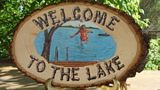 Welcome Plaque Pyrography Prints - Welcome to the Lake Print by Dakota Sage