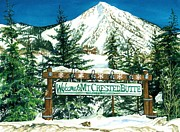 Watercolor Resort Posters - Welcome to the Mountain Poster by Barbara Jewell