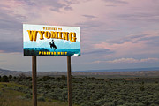 Bucking Posters - Welcome to Wyoming Sign Poster by Bryan Mullennix