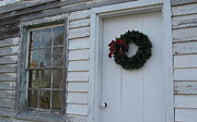 Board And Batten Siding Prints - Welcoming Wreath  Print by Nancy Patterson