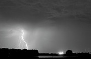 Lightning Weather Stock Images Posters - Weld County Looking East from County Line CO BW Poster by James Bo Insogna