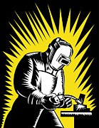 Worker Digital Art Posters - Welder Metal Worker Welding Retro  Poster by Aloysius Patrimonio