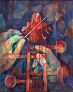 Musical Paintings - Well Conducted - Painting of Cello Head and Conductors Hands by Susanne Clark