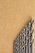 Home Improvement Framed Prints - Well Used Twist Drill Bits On Mdf Board Framed Print by Chris Rose