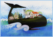 Cape Cod Paintings - Wellfleet - A Whale of a Town by Theresa LaBrecque