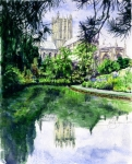 Cathedral Paintings - Wells Cathedral by John D Benson