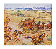 Susan Leggett Prints - Wells Fargo Express Old Western Print by Susan Leggett