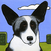 Dog Breeds Paintings - Welsh Cardigan Corgi by Leanne Wilkes