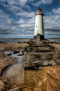 Sand Digital Art Metal Prints - Welsh Lighthouse  Metal Print by Adrian Evans