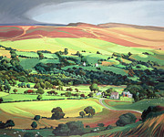 Hills Paintings - Welsh Valley by Anna Teasdale
