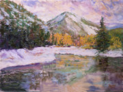 Plain Pastels Prints - Wenatchee River Snowfall Print by James Geddes
