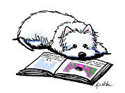 Westie Terrier Digital Art - Wendell Loves Books by Kim Niles