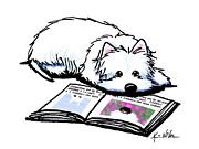 Wendell Loves Books Print by Kim Niles
