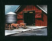 Cat Art Originals - Wenger Barn by Carol Wilson