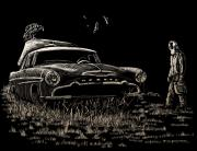 Scratchboard Drawings - Went For Gas by Bomonster