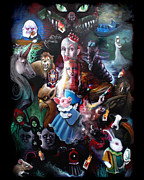 Alice In Wonderland Paintings - Were All Mad Here by Michael Parsons