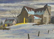 New England Winter Originals - Were Home On The Farm by Charlotte Blanchard