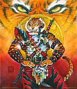 Realistic Mixed Media Originals - Werecat Warrior by Melissa A Benson