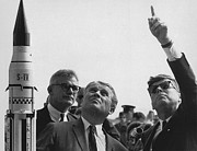 Gestures Framed Prints - Wernher Von Braun Explains The Saturn Framed Print by Everett