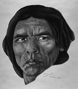 Leader Drawings Posters - Wes Studi as Geronimo Poster by David Edmonds