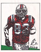 Player Drawings Posters - Wes Welker Poster by Jeremiah Colley
