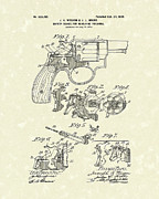 Weapon Drawings Framed Prints - Wesson and Hobbs Revolver 1899 Patent Art Framed Print by Prior Art Design