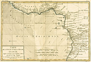 Vintage Map Drawings - West Africa by Guillaume Raynal 
