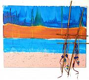 Sand Mixed Media Originals - West Beach by Lisabeth Billingsley