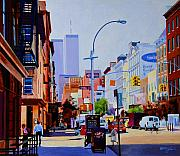 Twin Towers Trade Center Painting Metal Prints - West Broadway Metal Print by John Tartaglione