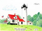 Vineyard Landscape Drawings Framed Prints - West Chop Lighthouse Framed Print by Frederic Kohli