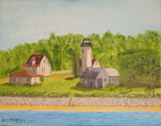 Vineyard Haven Prints - West Chop Lighthouse-Marthas Vineyard Print by Jack McKenzie