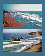Sandy Beaches Mixed Media Prints - West Coast Diptych 3 Print by Steve Ohlsen