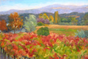 California Vineyard Paintings - West Dry Creek Valley Road by Deborah Cushman