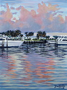 Docked Boats Painting Posters - West End Sunset Poster by Danielle  Perry